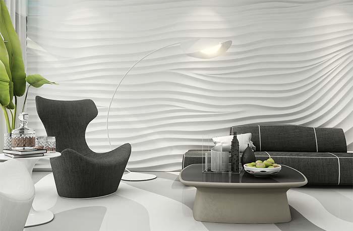 Papel de parede 3D para sala moderna.