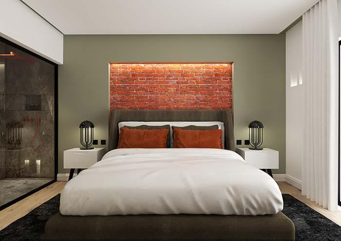 Papel de parede 3D para quarto com estampa de tijolinho.