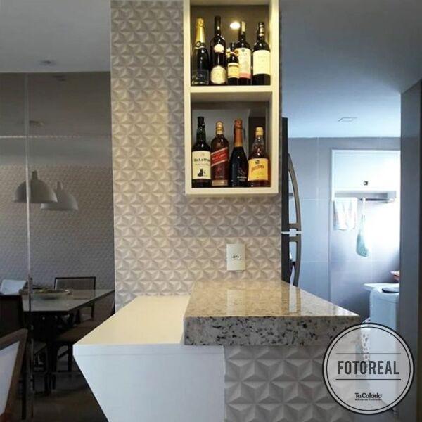 Papel de parede 3D para cozinha americana.