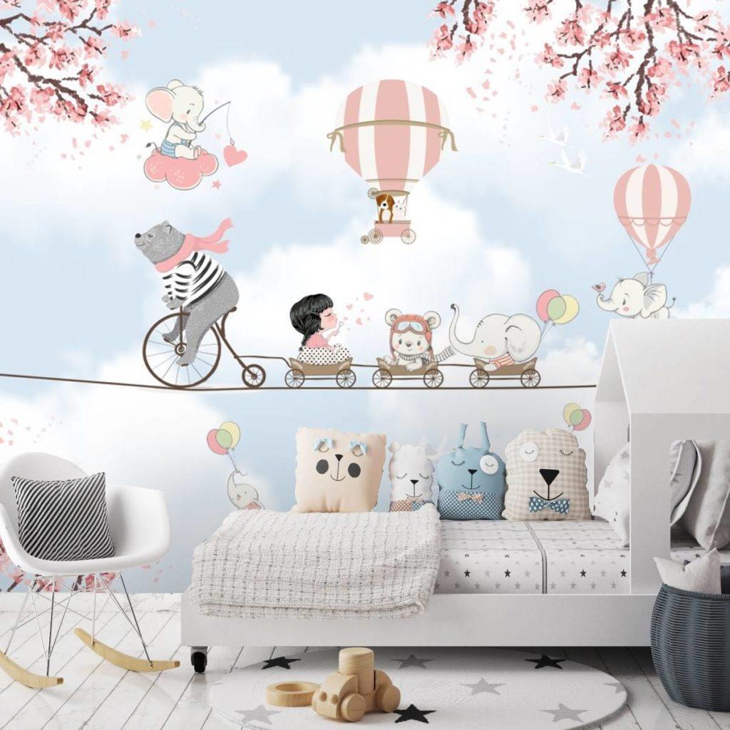 Papel de parede 3D para quarto infantil feminino.