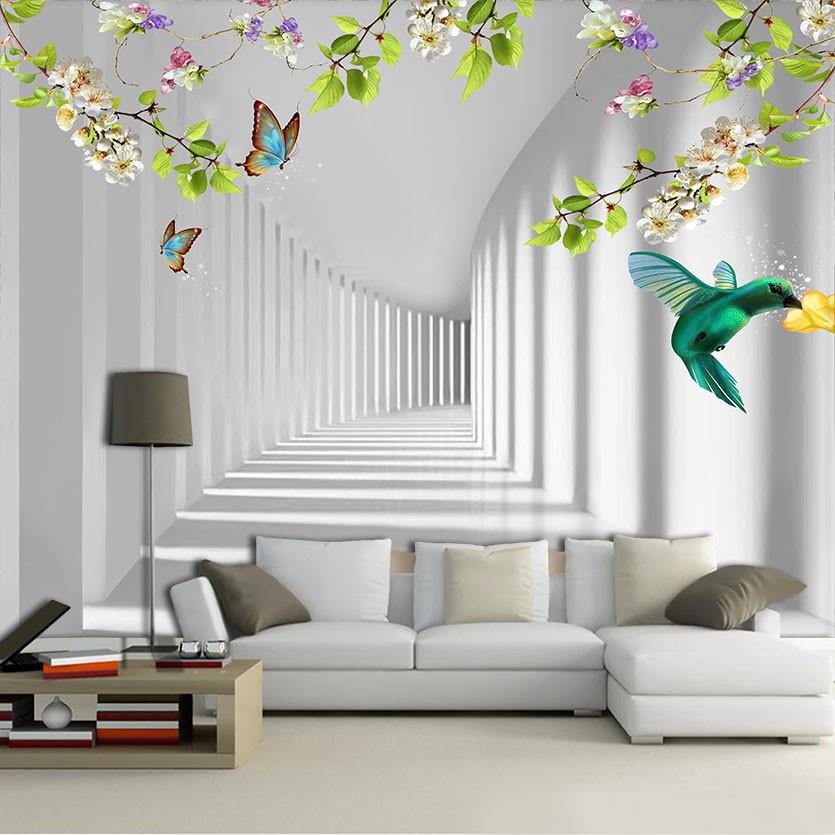 Papel de parede 3D para sala simples.