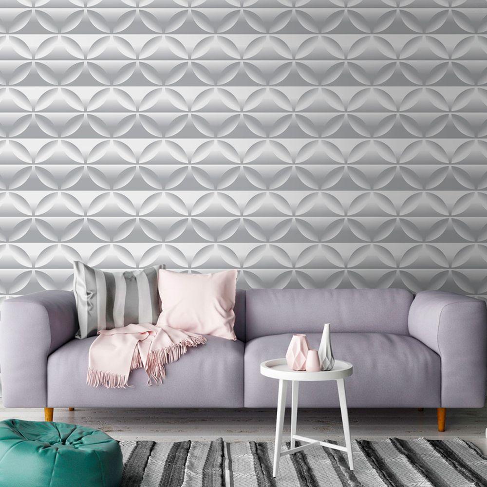 Papel de parede 3D para sala moderna com sofá lilás.