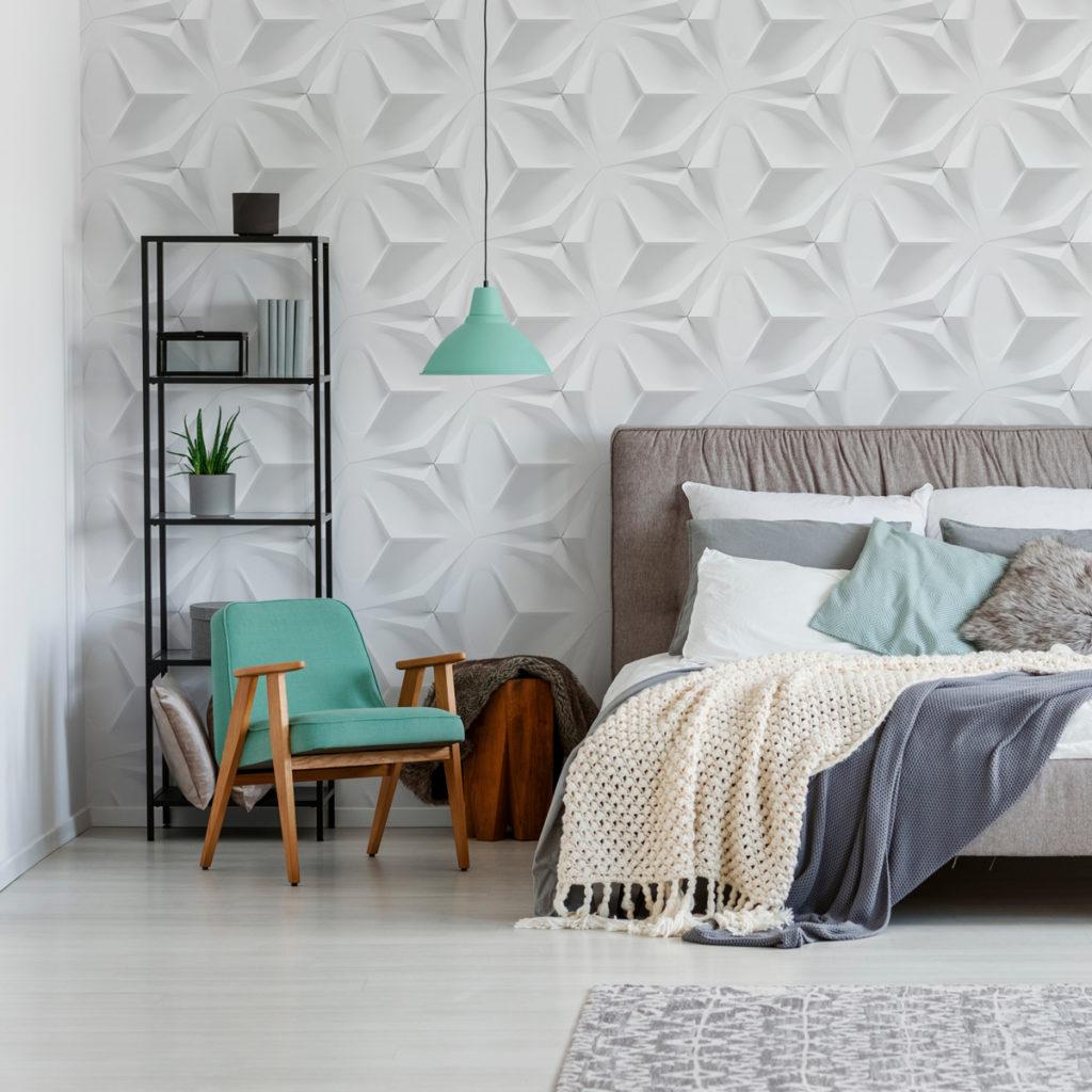 Papel de parede 3D para quarto de casal moderno.
