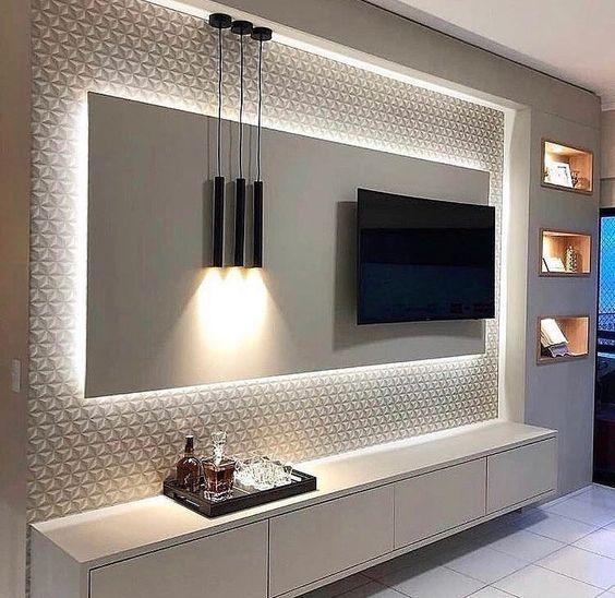 Papel de parede 3D para painel da sala de tv.