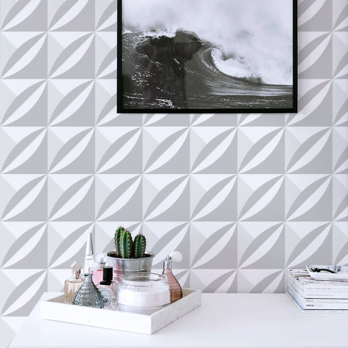 Papel de parede 3D para quarto clean.