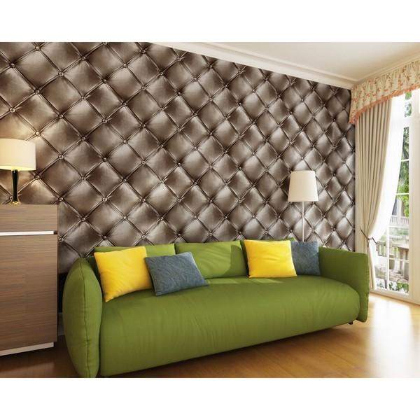 Papel de parede 3D para sala moderna e estampa tradicional.