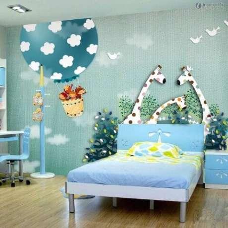 Papel de parede 3D para quarto infantil masculino.