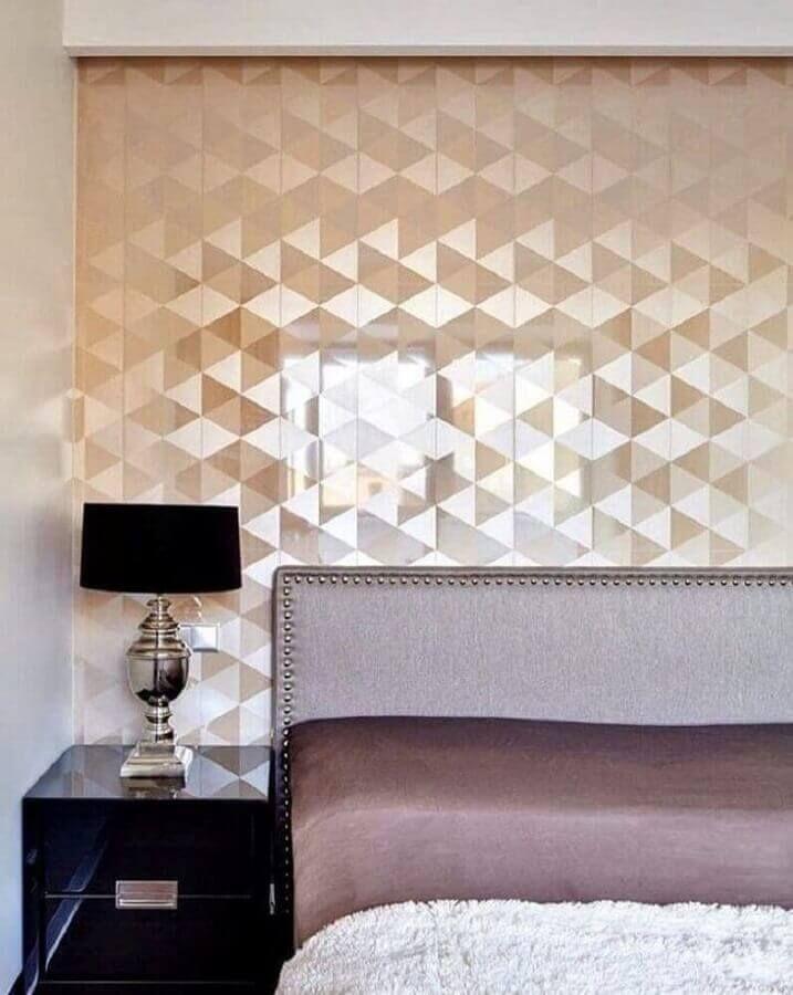 Papel de parede 3D para quarto luxuoso e estampa dourada.