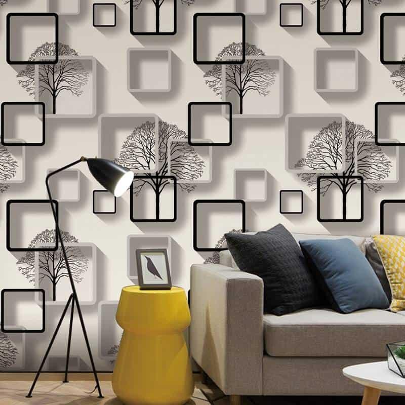 Papel de parede 3D para sala moderna e estampa de árvores.