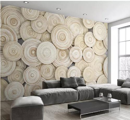 Papel de parede 3D para sala moderna com estampa que imita madeira.