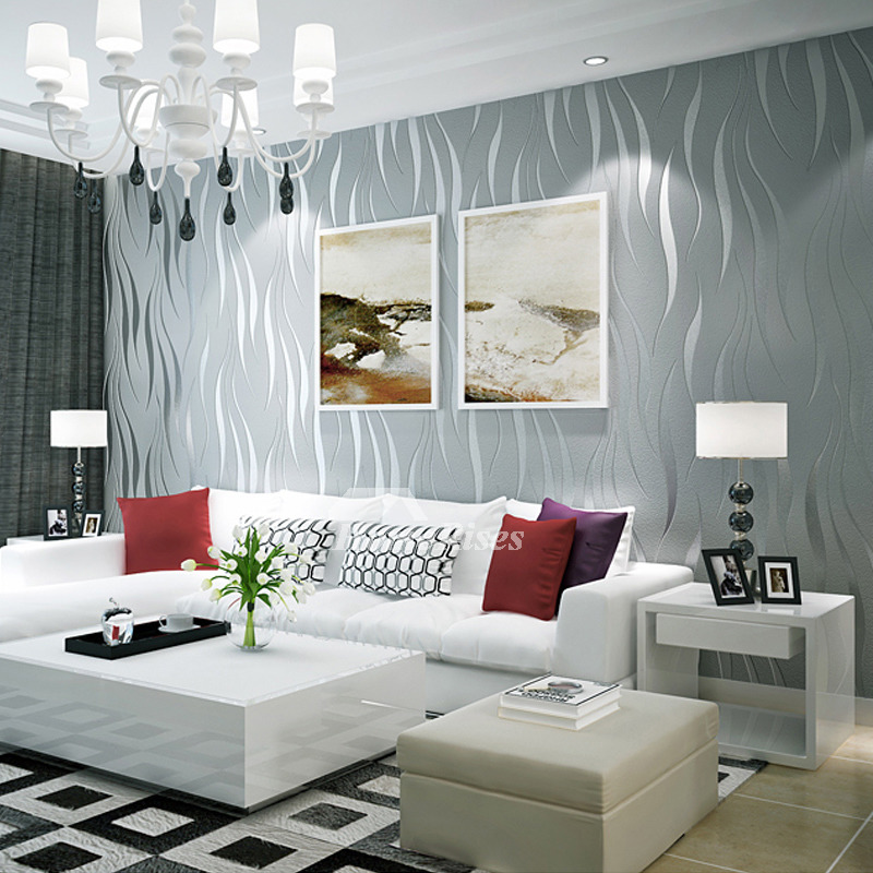 Papel de parede 3D para sala luxuosa com lustre.