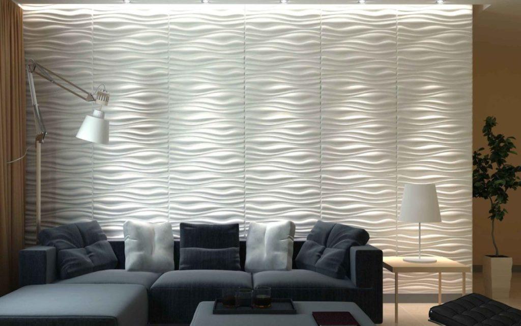 Papel de parede 3D para sala com sofá em L.