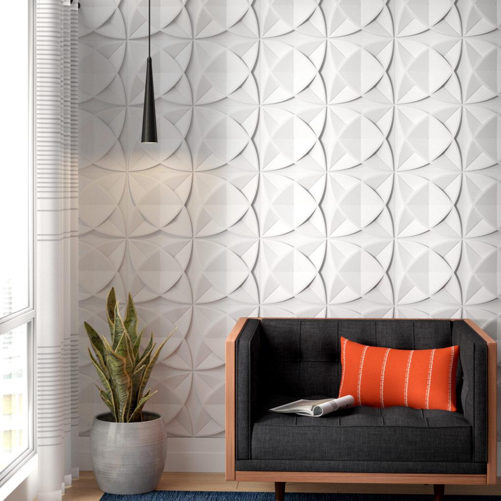 Papel de parede 3D para sala clean e moderna.