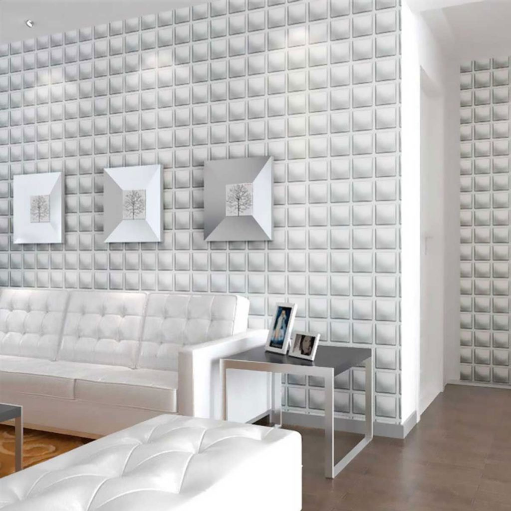 Papel de parede 3D para sala branca e moderna.