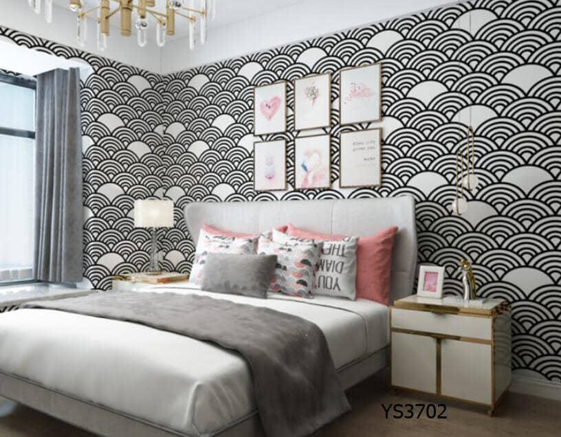 Papel de parede 3D para quarto feminino moderno.