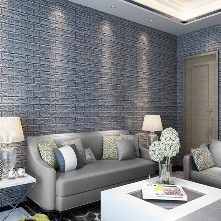 Papel de parede 3D para sala cinza e estampa de tijolinho cinza.