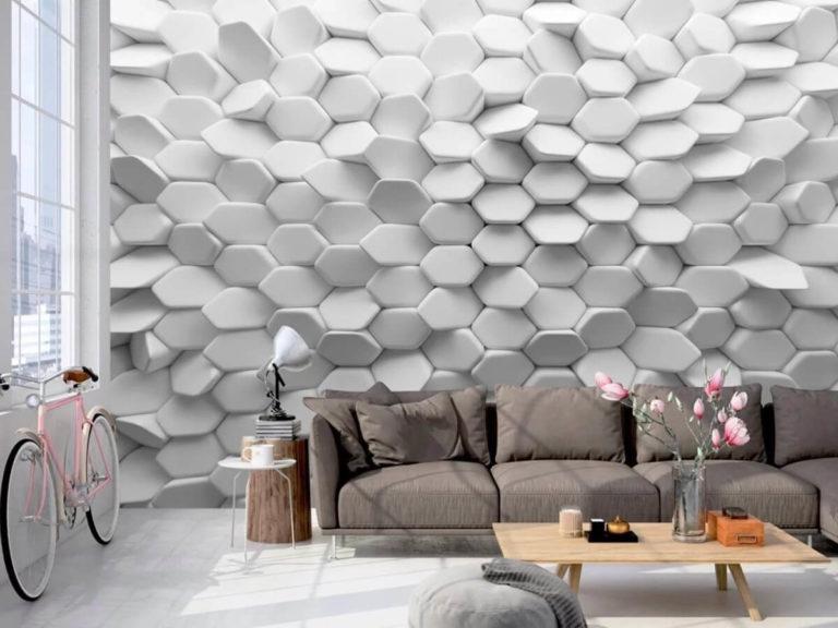 Papel de parede 3D para sala moderna e estampa branca.