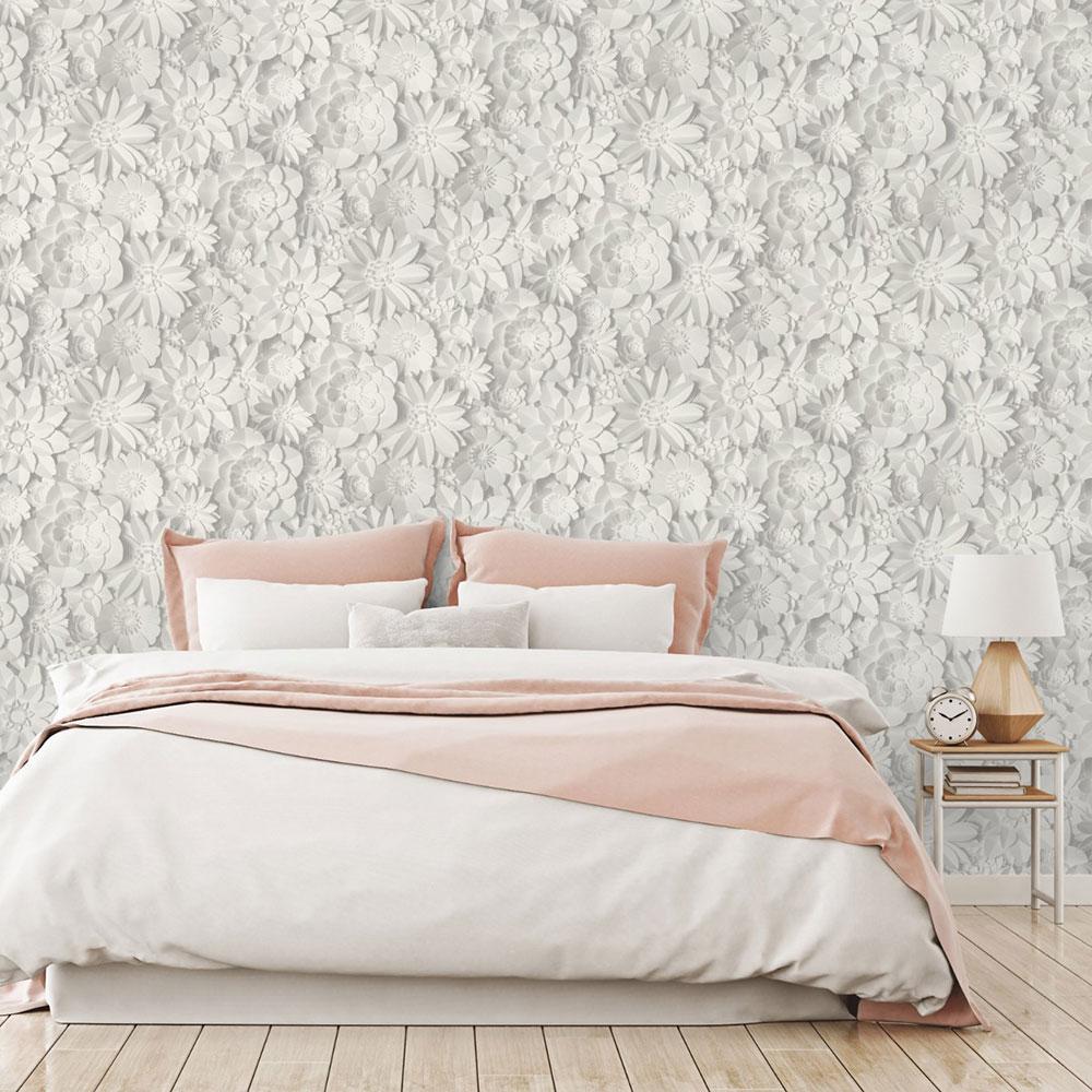 Papel de parede 3D para quarto feminino claro.