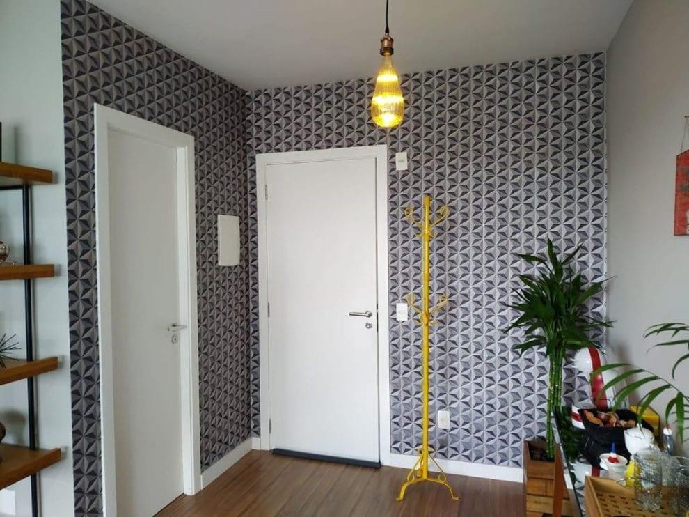 Papel de parede 3D para sala simples cinza.
