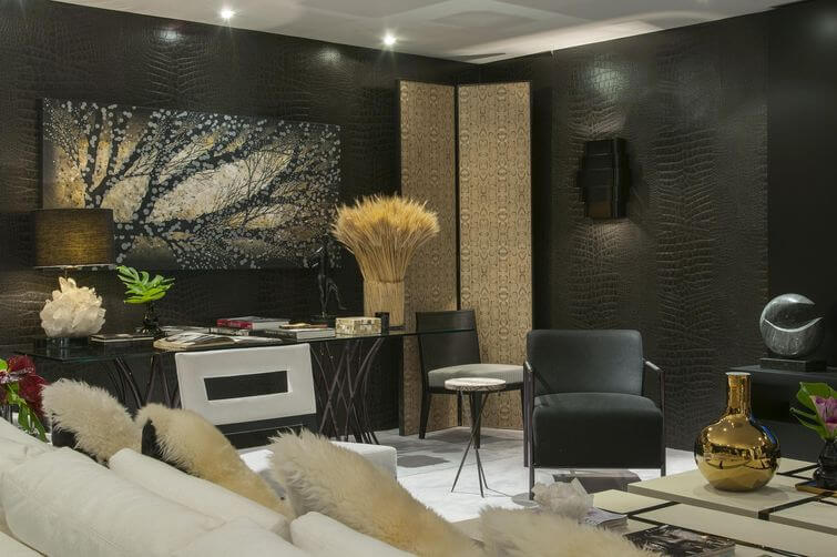 Papel de parede 3D para sala luxuosa e estampa de couro.