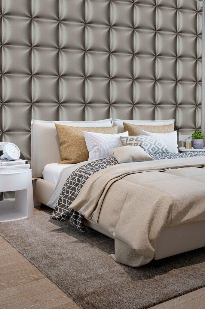 Papel de parede 3D para quarto de casal neutro.