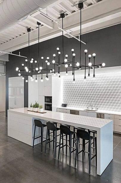 Papel de parede 3D para cozinha com ilha moderna e branca.