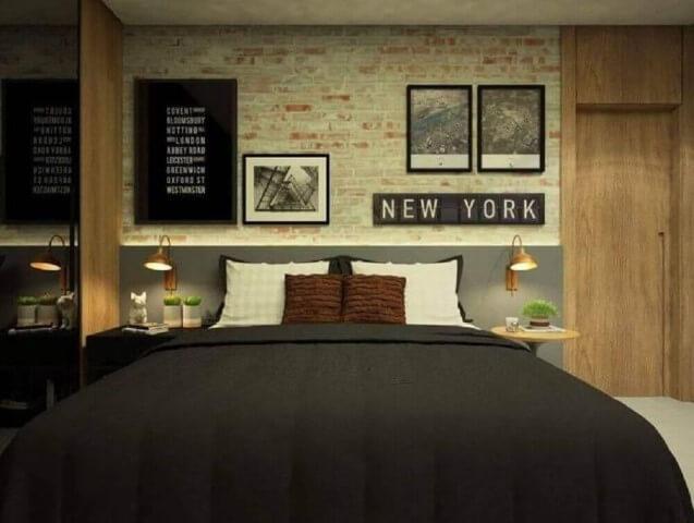 Papel de parede 3D para quarto masculino e moderno.