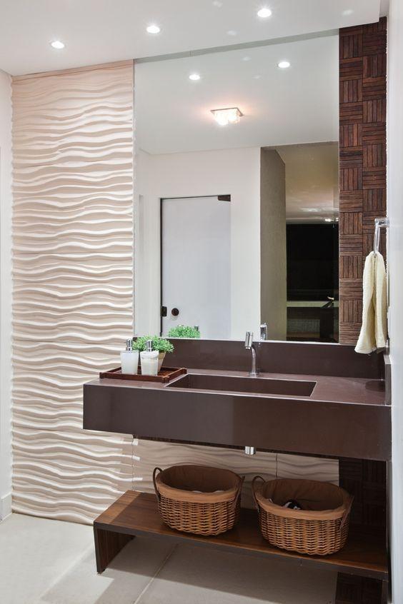 Papel de parede 3D para banheiro sumples.