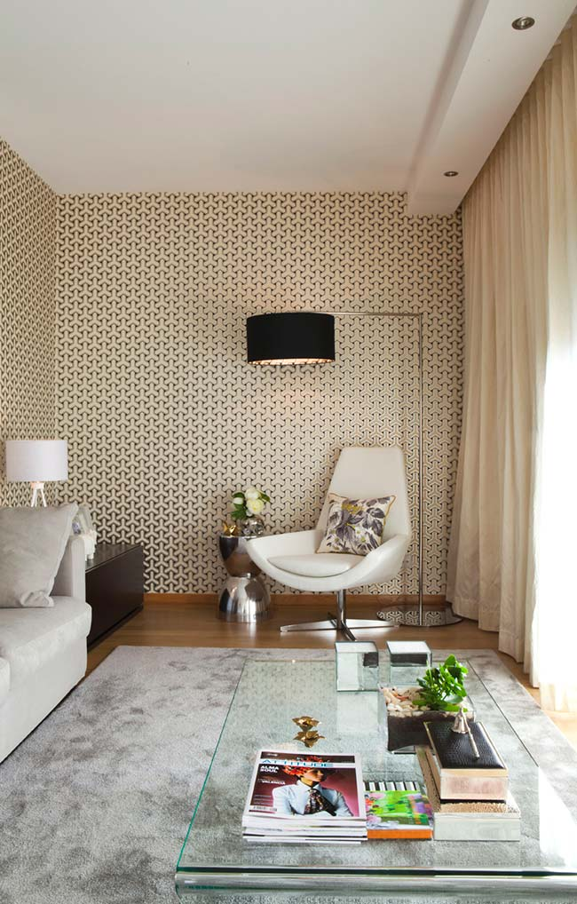 Papel de parede 3D para sala pequena e moderna.