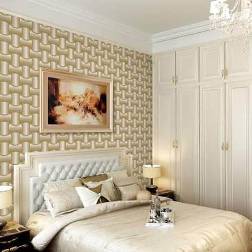 Papel de parede 3D para quarto com decoração clássica.