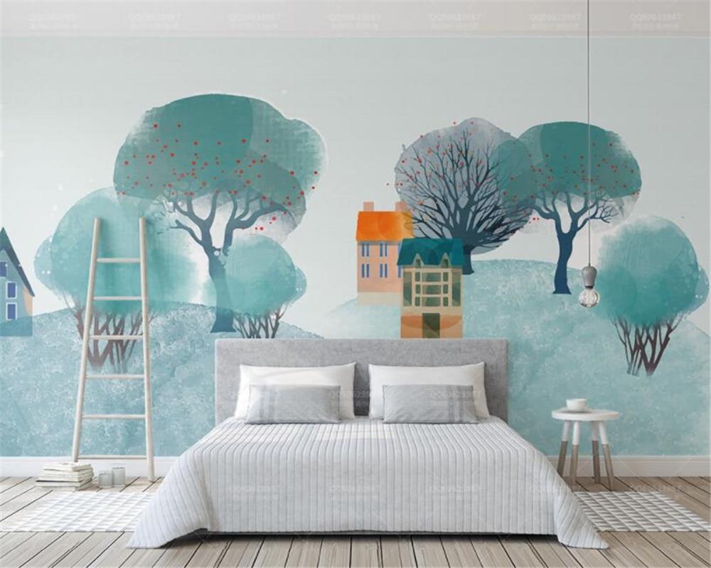 Quarto de casal com parede decorada com paisagem.