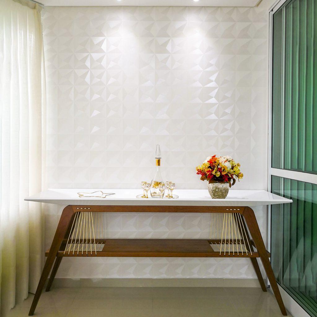 Papel de parede 3D branco e discreto.