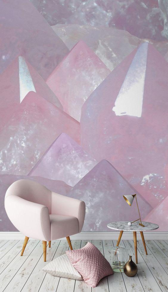 Sala decorada com estampa de pedra de quartzo.