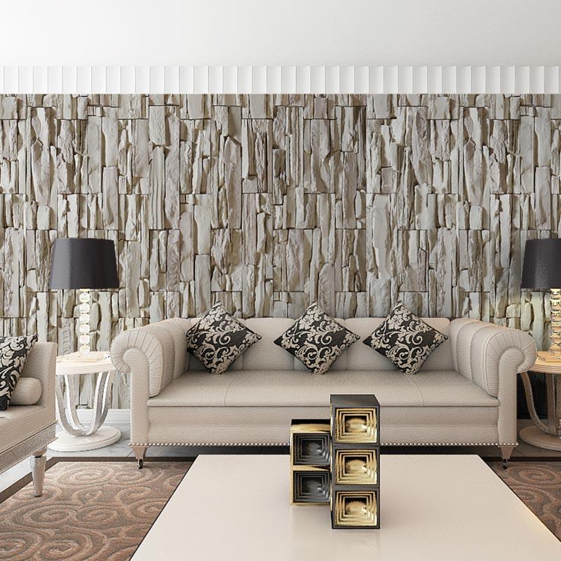 Papel de parede 3D com estampa de pedra.