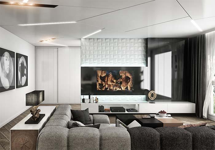 Sala moderna com decoração preta e branca.