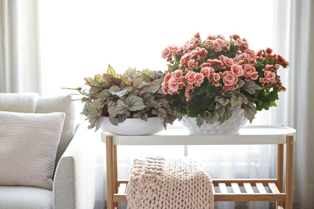 Mesa minimalista com vasos de cerâmica.