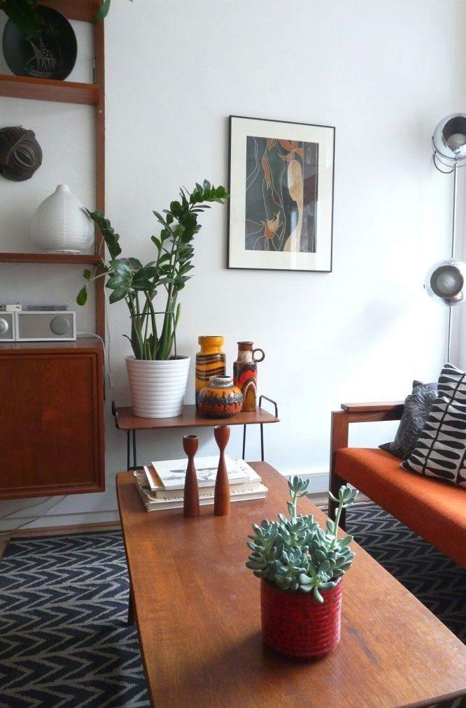 Sala de estar decorada com vaso de zamioculca.