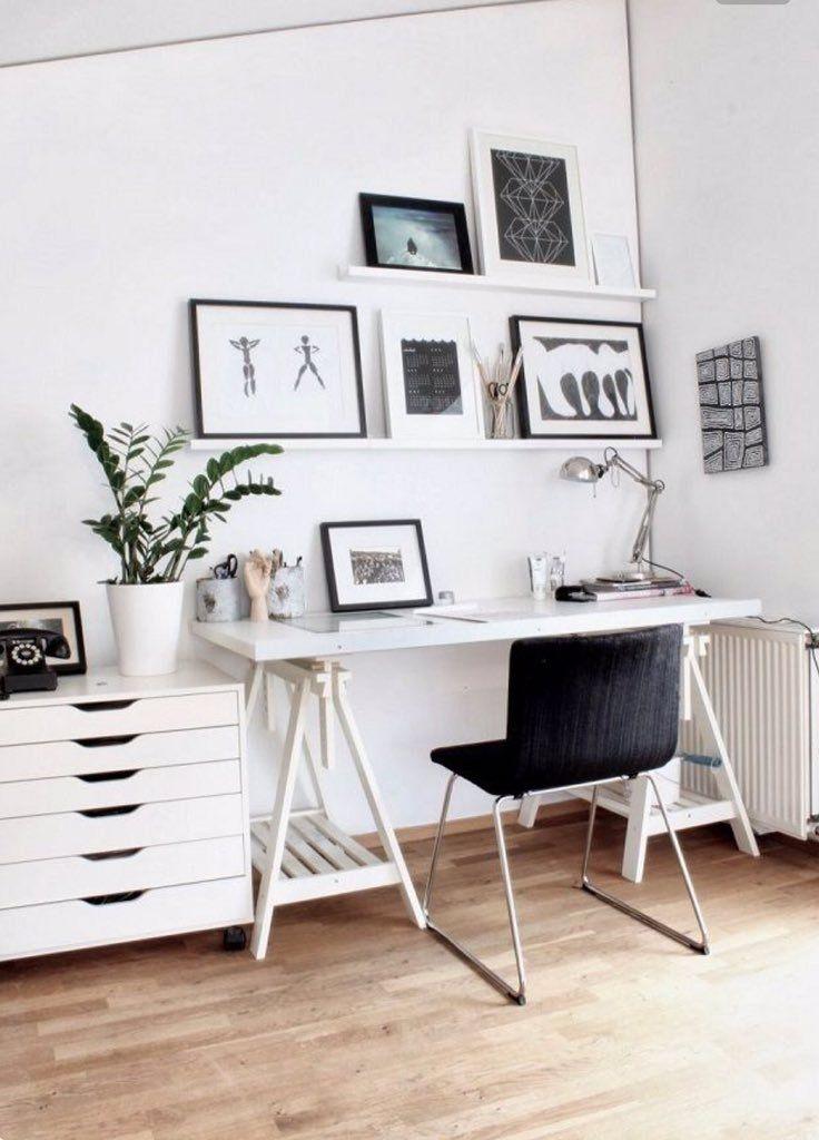 Escritório minimalista decorado com zamioculca.
