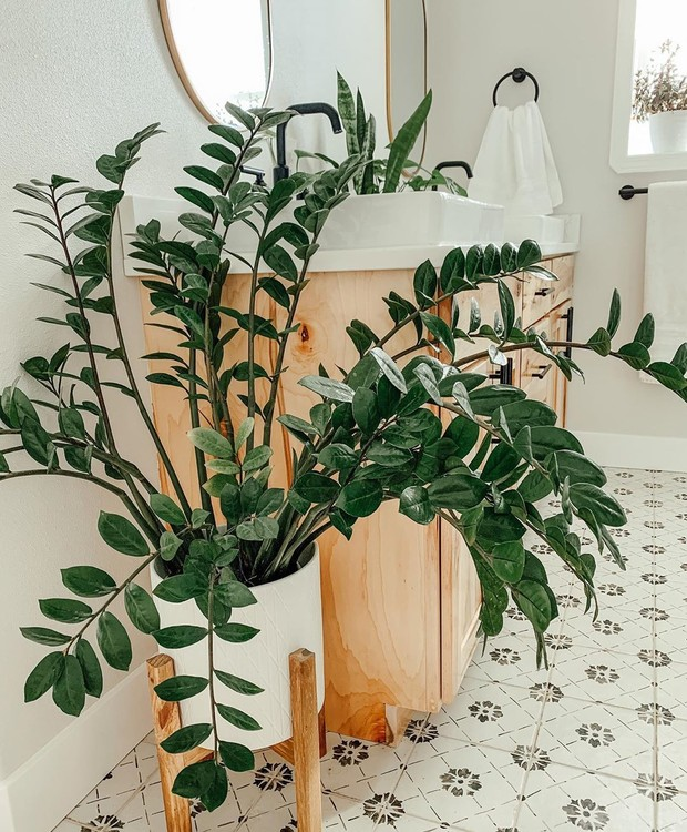Banheiro decorado com vaso moderno de plantas.