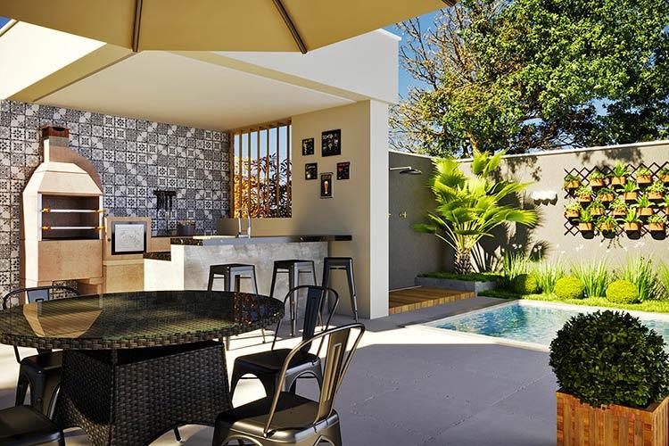 Área de churrasqueira pequena com piscina e azulejo.