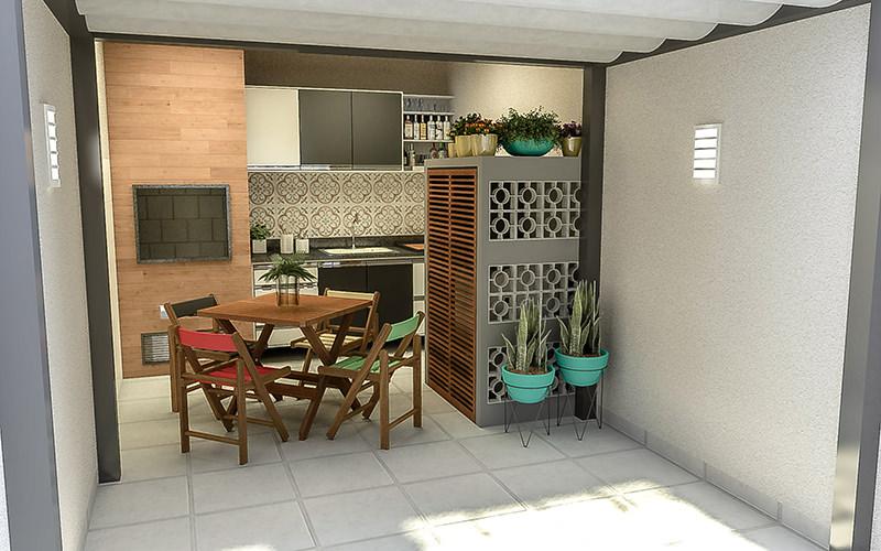 Área de churrasqueira pequena com cozinha.