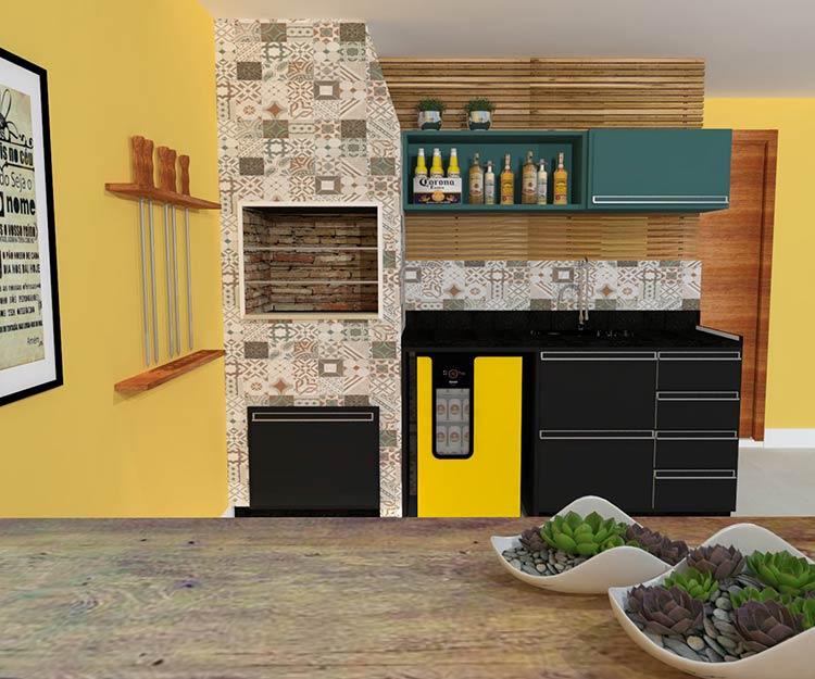 Área de churrasqueira pequena com adega amarela.