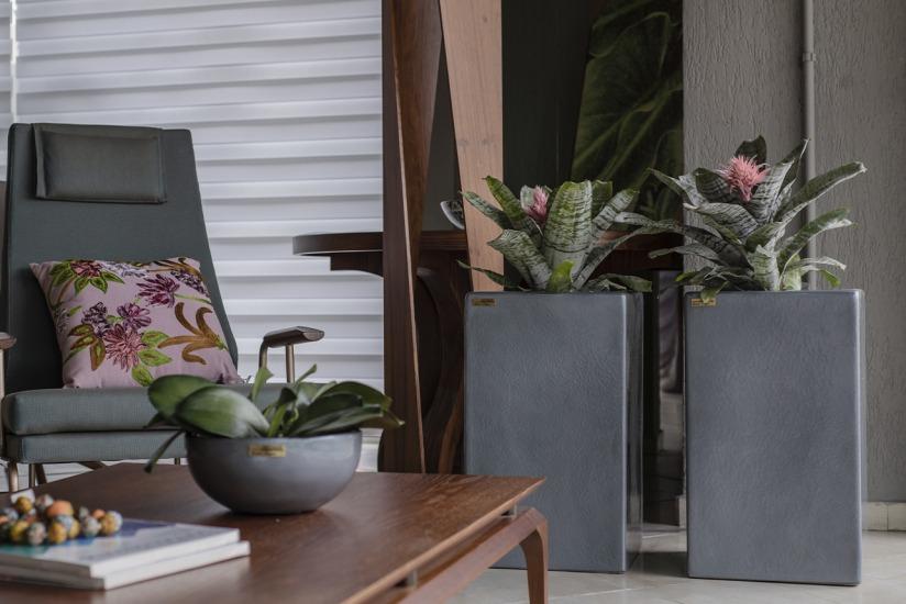 Sala moderna com vasos cinzas e bromélias.