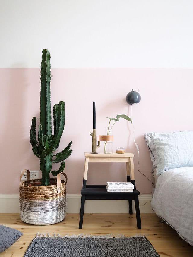 Quarto minimalista rosa com cacto.