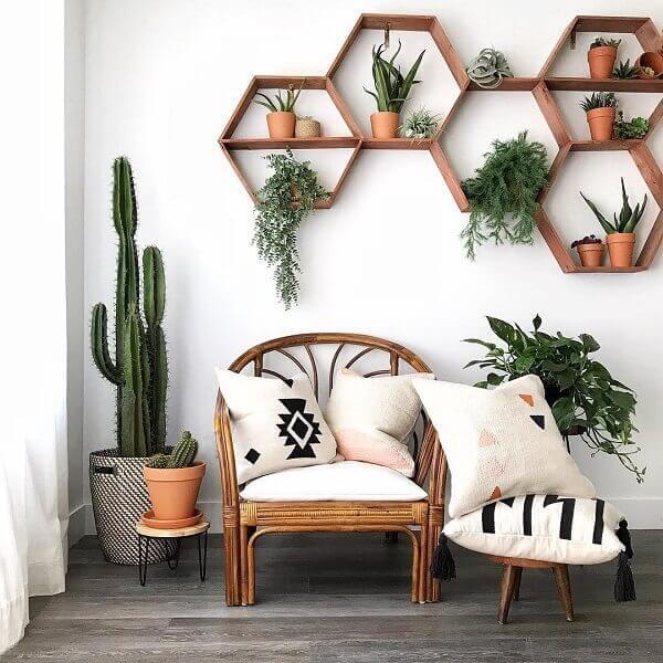 Sala moderna com plantas e prateleiras de madeira.