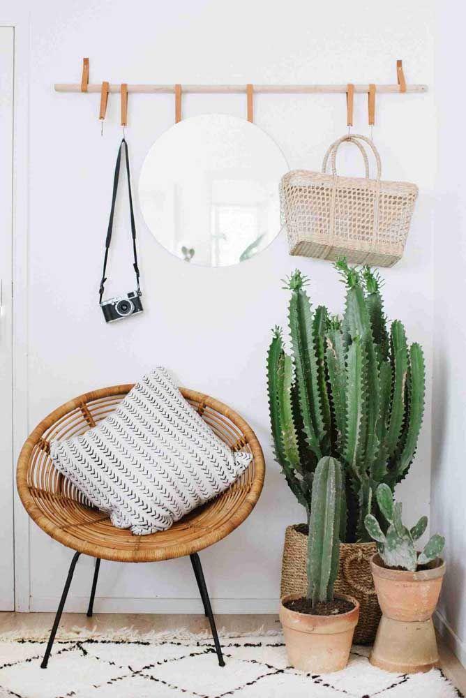 Sala minimalista decorada com plantas.