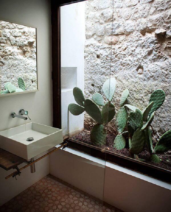 Banheiro com jardim de inverno.