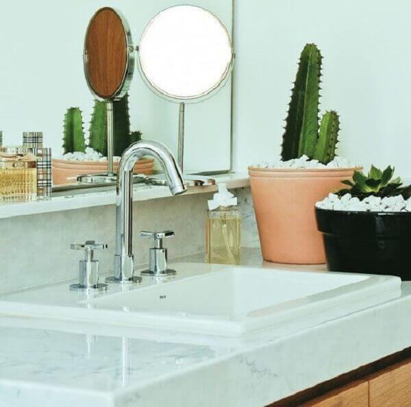 Banheiro com vasos de planta.