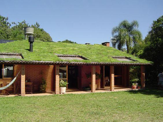 telhado verde em casa de campo e solo gramado