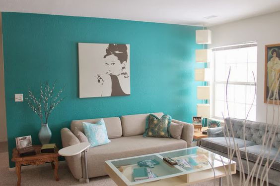 sala azul turquesa clássica